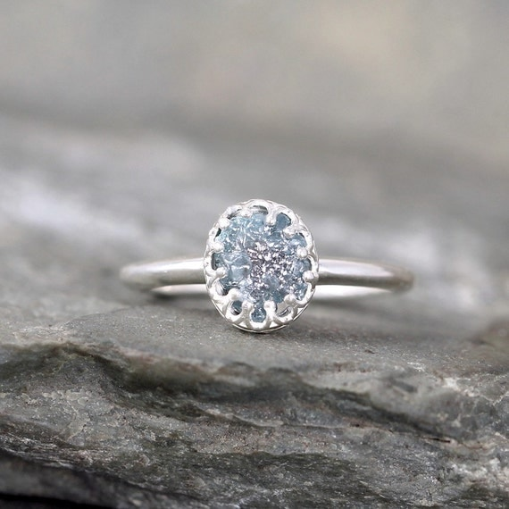 raw blue diamond ring crown style setting by asecondtime