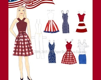 Dana Rae Fourth of July Paper Doll