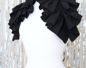 Infinity Scarf with Ruffles - Black Victorian Fashion Collar or Cowl by Mademoiselle Mermaid