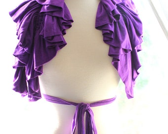 Jersey Knit Ruffle Scarf in Purple - Available in 24 Colors by Mademoiselle Mermaid