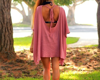 Beach Poncho Cover Up with Open Back - Caftan in Mauve Cotton Gauze - 24 Colors by Mademoiselle Mermaid