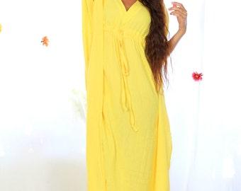 Yellow Caftan Maxi Dress - Beach Cover Up - Long Kaftan in Cotton Gauze
