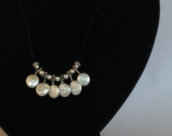White Pearl Disc  Statement Necklace