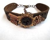 Steampunk Style Copper Key and Golden Gears Leather Cuff Bracelet Adjustable OOAK