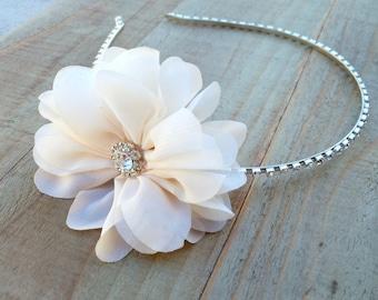 Flower Fascinator, Flower Headband, Bridal Headband, Rhinestone Headband, Flower Girl Hair, White Flower Headband, Wedding Headband, Flowers
