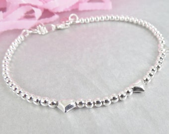 Sterling Silver Bead Bracelet - Hand Stamped Initial Charm - Heart Beaded Bracelet - Personalized Charm on Beaded Bracelet - Isabella