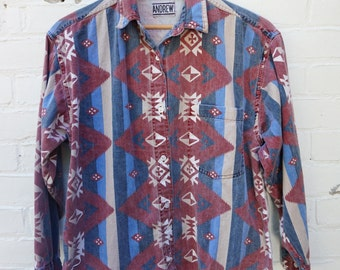 Vintage Mens Shirt 1980s Denim Southwest  Medium