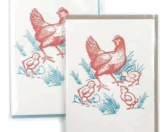 Chicken Cards, Box of 6 Letterpress Cards, Chickens cards, blank greeting cards, mom card, Hen and Chicks Card, Chicken lover gift, card