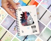 PLANNER FOR 2016. Wonderful calendar with funny illustrations and lovely characters. best present. With pocket in the backcover