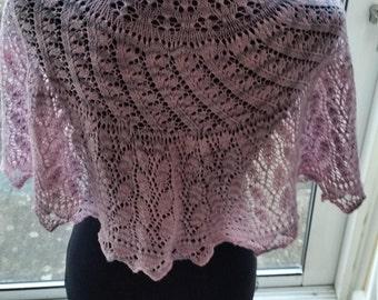 Lace shawlette - scarflette - shawl - scarf - half-circle. Hand knit. FREE SHIPPING