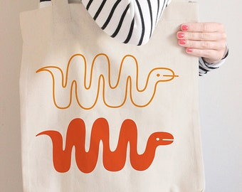 Snake Canvas Tote Bag
