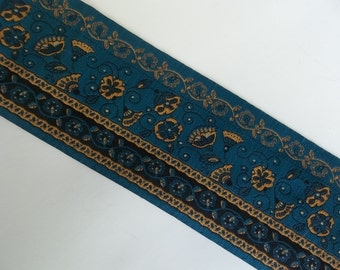 "Blue Floral Jacquard Ribbon Trim Yellow Flower Ribbon Renaissance Style Woven Trim Extra Wide Trim 3 Yds X  3"""