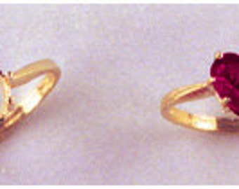 14kt. Yellow OR White Gold ~ 7x7mm Heart Faceted Ring setting ~ Custom sized from size 4 to size 12  ~ to be ordered ~ #631 ~  FDK