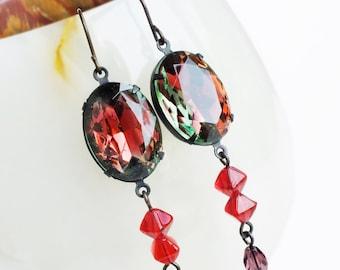 Red Crystal Dangle Earrings Vintage Glass Rhinestones Rose Purple Emerald Victorian Jewelry