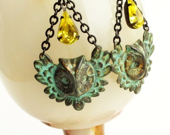 Large Owl Earrings Verdigris Earrings Owl Jewelry Verdigris Dangles Victorian Earrings Green Yellow Victorian Statement Jewelry