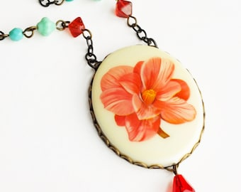 Pink Flower Pendant Necklace Large Vintage Floral Cameo Peach Pink Statement Jewelry Camellia Jewelry Romantic Pink Statement Bridal