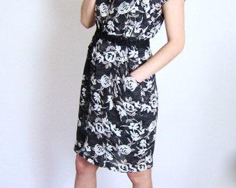 Black Floral 1980's Day Dress