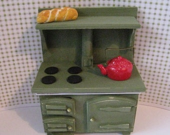 Dollhouse stove,SALE,  Cooker  Old Fashioned Stove, stove, sage green mini stove, mini cooker, dollhouse cooker, Twelfh scale dollhouse