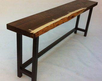 Natural Live Edge Walnut Slab Hall Table - Contemporary Console in Solid Rustic Walnut on Metal Base