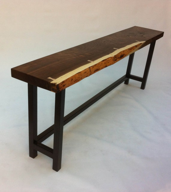 Live Edge Foyer Table : Natural live edge walnut slab hall table contemporary