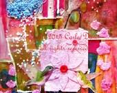 Whimsical Hummingbird Art Print * from Original Collage * Pink Bird Giclee Wall Art