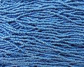 8/0 Opaque Denim Blue Luster Czech Glass Seed Bead Strand (CW87)
