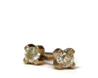 Mine cut diamond studs | 18k yellow gold