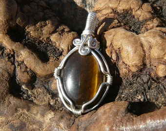 Dark Tiger Eye and Sterling Silver Wire Wrapped Pendant ~ Wire Wrapped Stone, Healing Stone Pendant, Natural Tiger Eye, Earthy, Reiki
