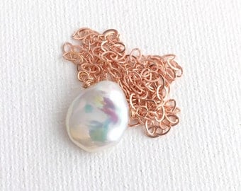 Large Keshi Pearl Pendant Necklace. 14K Rose Gold Fill Chain, Freshwater Pearl, Real Pearl Jewelry