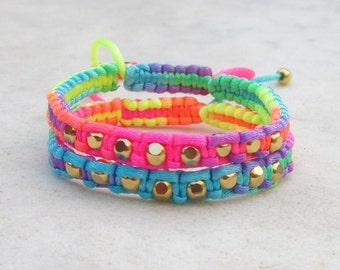 Neon rainbow friendship bracelets, neon bracelets, neon macrame bracelets, gold beads bracelets, stack jewelry