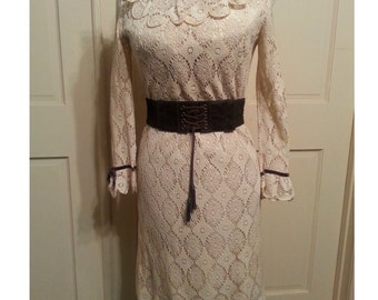 Vintage 60s 70's lace dress antique ivory ruffle collar long sleeves mid century