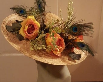 Large brim Victorian style straw hat garden roses yellow peacock feathers showy Derby costume decor