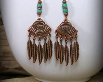 Turquoise Earrings, Tribal Earrings, Copper Earrings, Pottery Shard, Native American, Bohemian Earrings, Feather Earrings, Southwest Jewelry