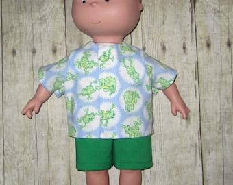 Caillou Classic 14.5 inch Doll Clothes Hippity Hop Frog  Shirt and Short  Set  Made In Usa   PBS  Sprout