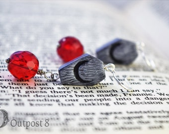Blood Moon, Coffin Earrings with Red Drops