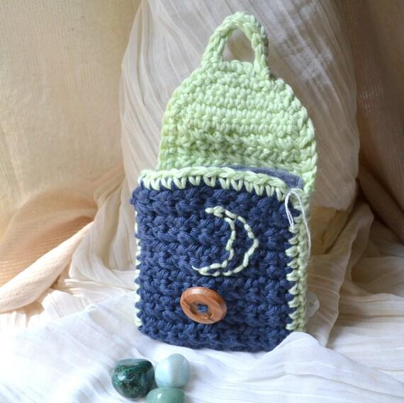 Hidden Moon Envelope Bag w/ Liner - Handmade, Hand-Crocheted- Small Crochet Purse, Travel, Healing Stones, Pendulum, Coins, Free US Shipping