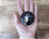 limoges ceramic pill box ring dish trinket box made in france black and gold initial N