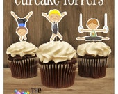 Gym Boys Party - Set of 12 Double Sided Assorted Boy Gymnast Cupcake Toppers by The Birthday House
