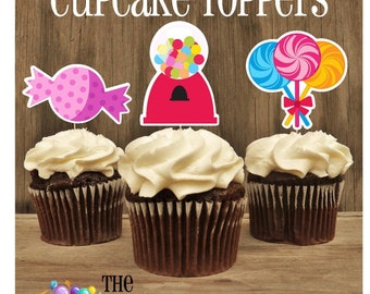 Sweet Shop Party -  Set of 12 Assorted Sweet Shop Cupcake Toppers by The Birthday House