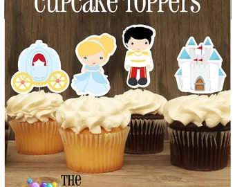Cinderella & Friends Party - Set of 12 Cinderella Double Sided Assorted Cupcake Toppers by The Birthday House