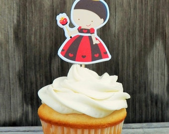 Alice in Wonderland Party - Set of 12 Queen of Hearts Cupcake Toppers by The Birthday House