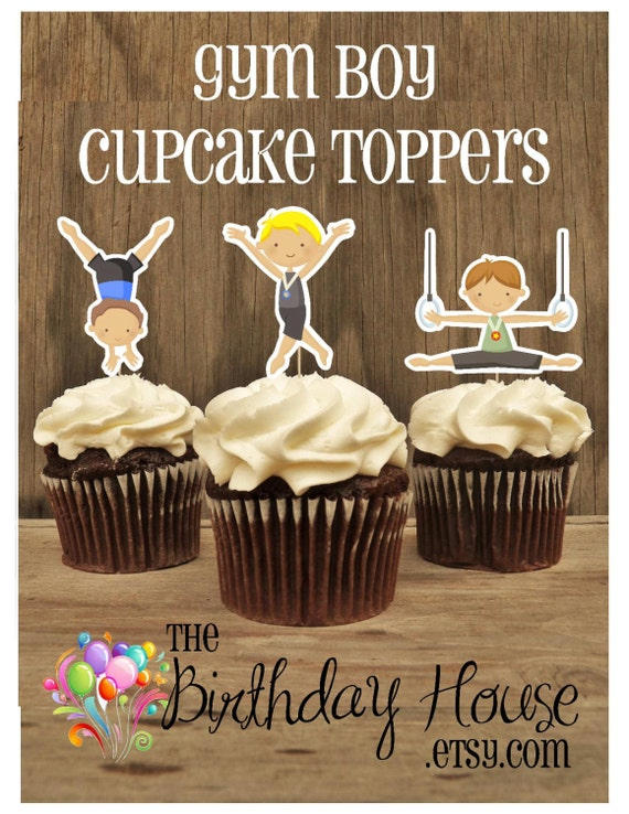 Gym Boys Party - Set of 12 Assorted Boy Gymnast Cupcake Toppers by The Birthday House