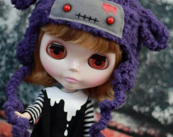 Purple Zombie Lamb Hat for Blythe, Doll Sheep Hat