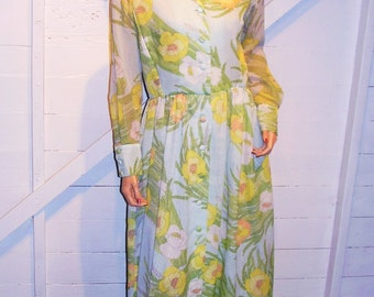 Vintage Serbin of Florida Blue Yellow Floral Maxi Button Up Dress M