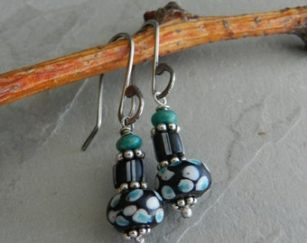 Black--White & Blue Dot--Antique Gemstone Stack--Rare Venetian Trade Bead Earrings