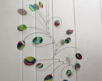 Hanging MOBILE, Sculpture, Watercolor, Art Mobile, MONETS GARDEN, grad gift, housewarming gift, home decor, modern mobile, Calder Inspired