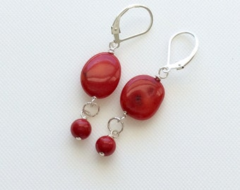Coral Earrings - Red Earrings - Red Coral Earrings - Stone Earrings - Holiday Earrings - Christmas Earrings  - Valentine's Day Earrings