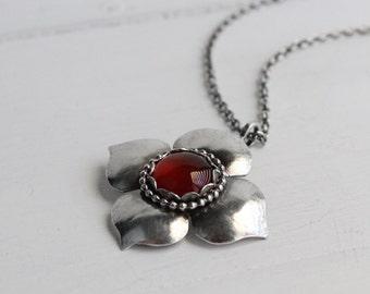 Lotus petal Carnelian Pendant, Statement Pendant, Statement necklace, handmade by Hapa Girls, Boho Chic, Gypsy Jewelry, Rustic jewelry,
