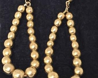 80s gold tone ball chain teardrop pierced earrings