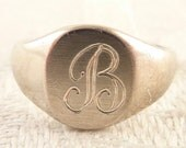 "Antique Size 3.75 Sterling Engraved Letter ""B"" Child's Signet Ring"
